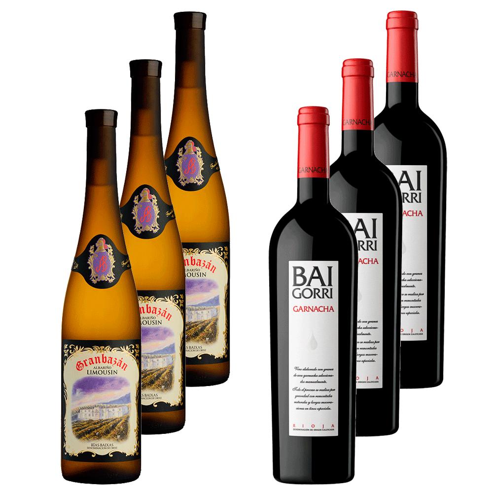 Pack de 6 botellas de vinos Granbazan y Baigorri