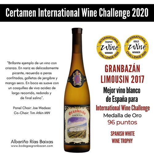 Granbaán Limousin 2017 mejor vino blanco de España para International Wine Challenge